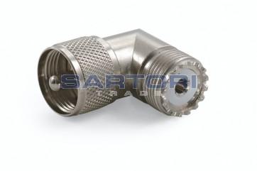 ADATTATORE COASSIALE UHF MASCHIO / UHF FEMMINA 90°